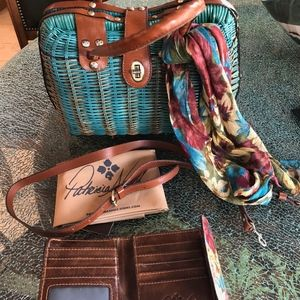 Patricia Nash Wicker Teal Purse, Scarf,Wallet,NWOT